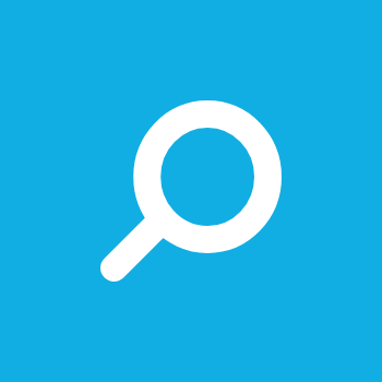 A magnifying glass icon on a blue background.